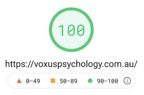 Image showing Voxus Psychology page speed at 100% on Desktop devices